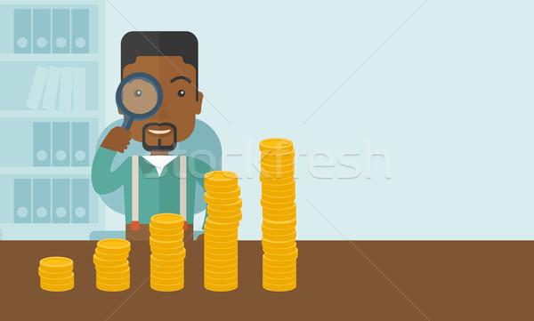 Siyah adam bakıyor büyüyen iş finansal kriz Stok fotoğraf © RAStudio