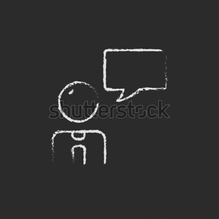 Man toespraak vierkante krijt Stockfoto © RAStudio