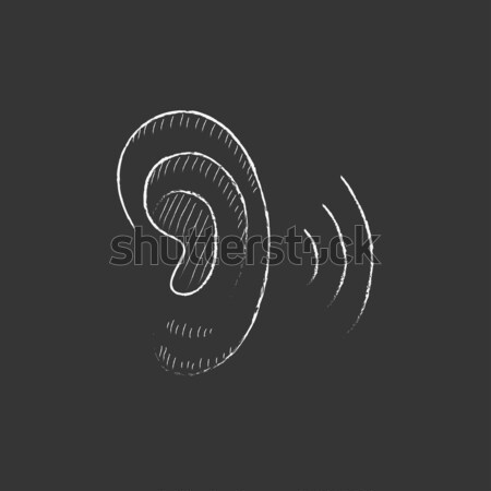 Human ear icon drawn in chalk. Stock photo © RAStudio