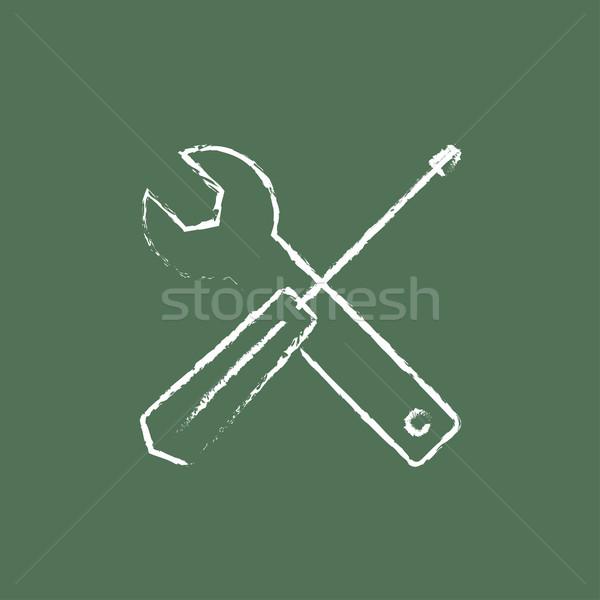 Cacciavite chiave strumenti icona gesso Foto d'archivio © RAStudio