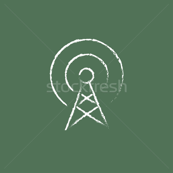Anten ikon tebeşir tahta Stok fotoğraf © RAStudio