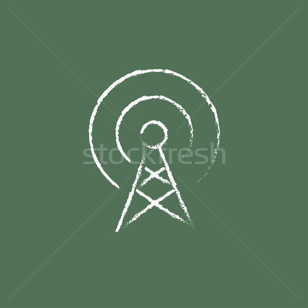 Antena ícone giz lousa Foto stock © RAStudio