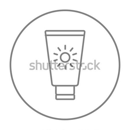 Солнцезащитный крем икона мелом рисованной доске Сток-фото © RAStudio