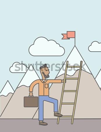 Foto stock: Hombre · escalada · escalera · África · pie