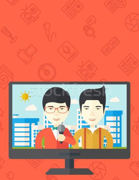 Nadawanie wywiad telewizji zestaw transmitowanie wiadomości Zdjęcia stock © RAStudio