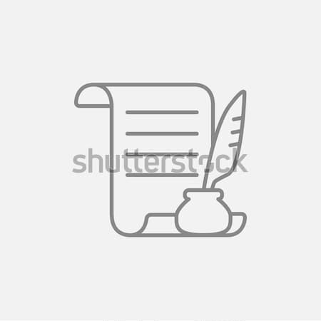 Papel rolar pena caneta linha ícone Foto stock © RAStudio