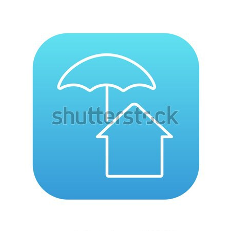 Stockfoto: Huis · paraplu · lijn · icon · web · mobiele