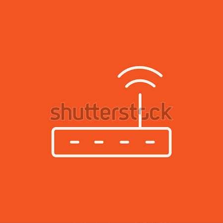 Sem fio router linha ícone teia móvel Foto stock © RAStudio