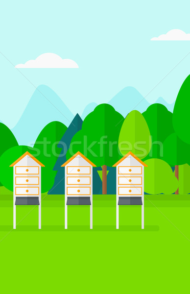 Background of beehives in meadow. Stock photo © RAStudio