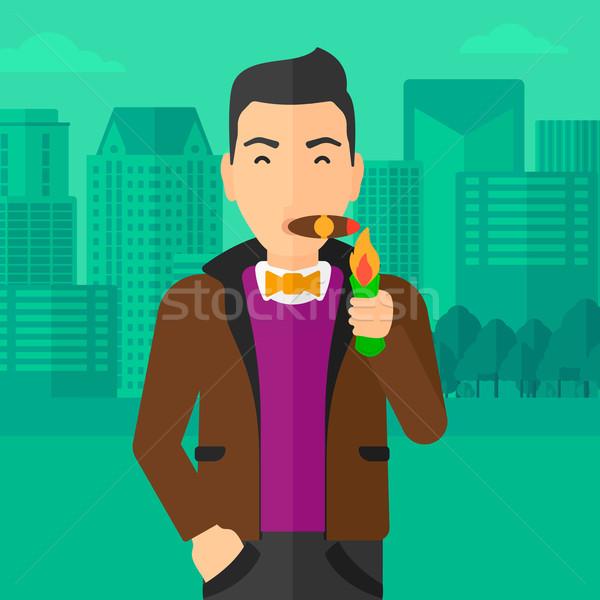 Człowiek palenia cygara nowoczesne miasta wektora Zdjęcia stock © RAStudio
