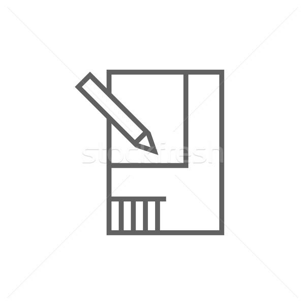 Disposición casa línea icono esquinas web Foto stock © RAStudio