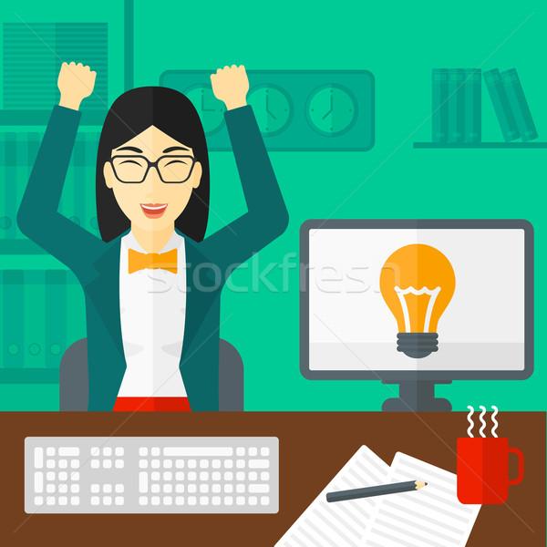 女性 作業 オフィス アジア 挙手 座って ストックフォト © RAStudio