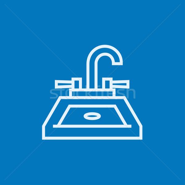 Wastafel lijn icon hoeken web mobiele Stockfoto © RAStudio