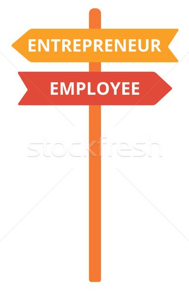 Werknemer ondernemer verkeersbord vector ontwerp illustratie Stockfoto © RAStudio