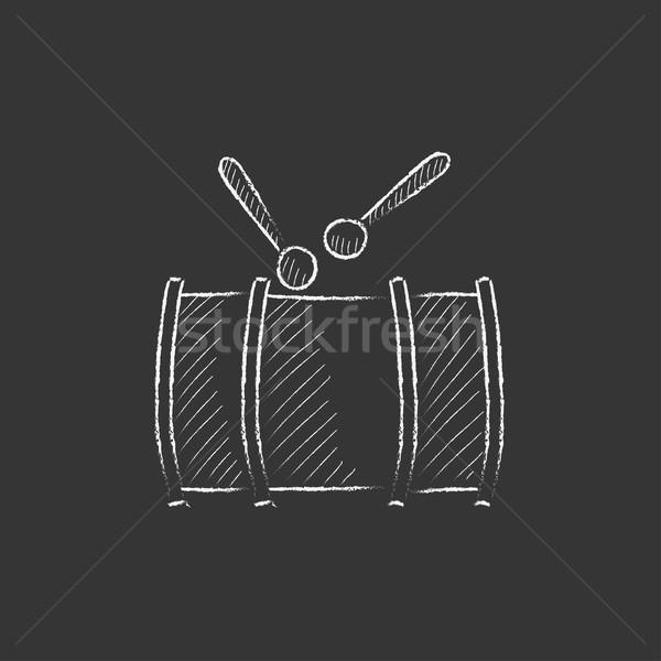 Trommel gezeichnet Kreide Symbol Hand gezeichnet Vektor Stock foto © RAStudio