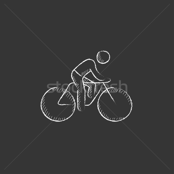 Man riding  bike. Drawn in chalk icon. Stock photo © RAStudio