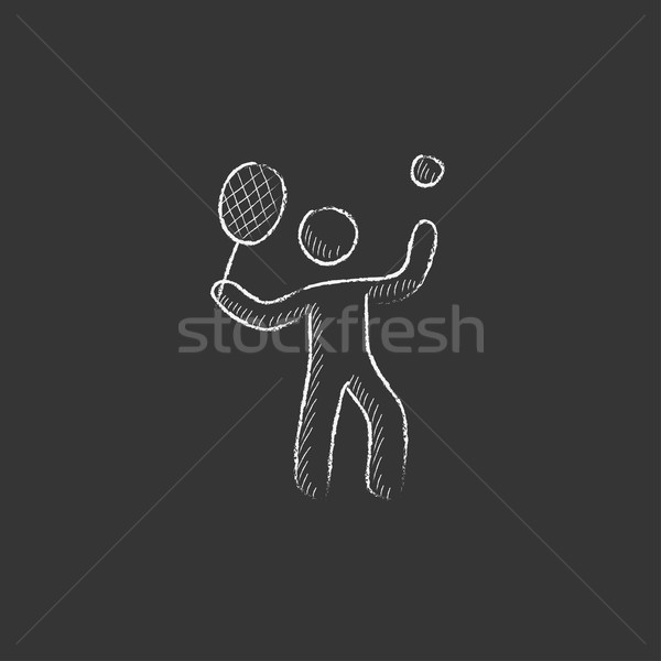 Man playing big tennis. Drawn in chalk icon. Stock photo © RAStudio