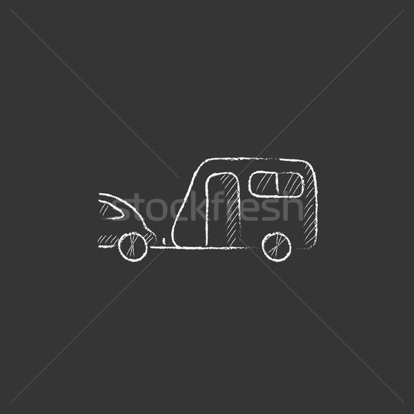 Autó karaván rajzolt kréta ikon kézzel rajzolt Stock fotó © RAStudio