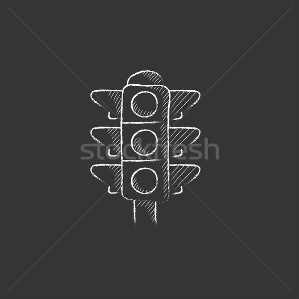 ストックフォト: 信号 · チョーク · アイコン · 手描き · ベクトル