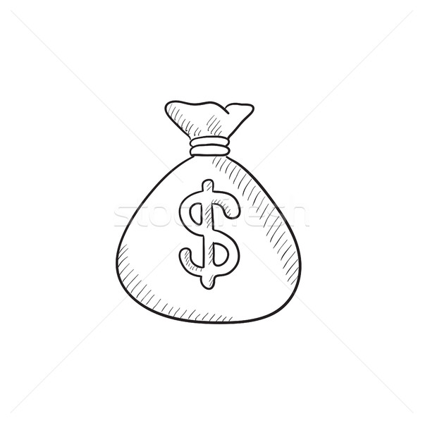Geld zak schets icon vector geïsoleerd Stockfoto © RAStudio
