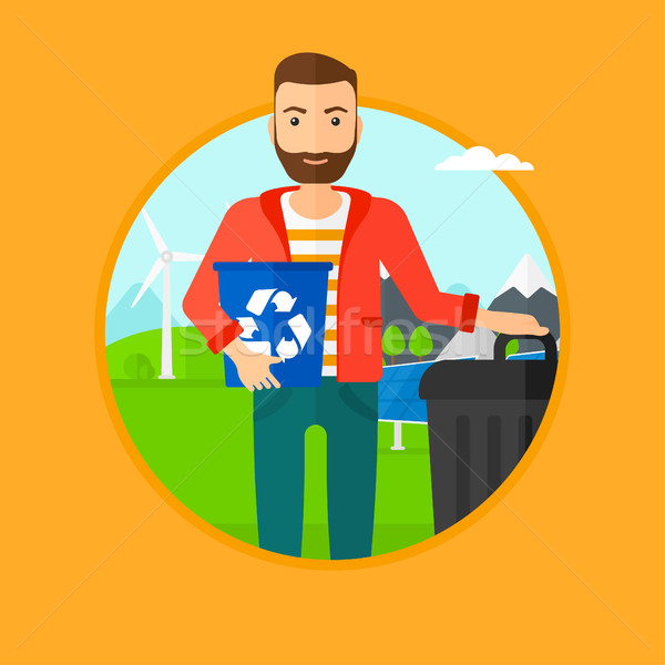 Homem reciclar cesto de lixo reciclagem Foto stock © RAStudio