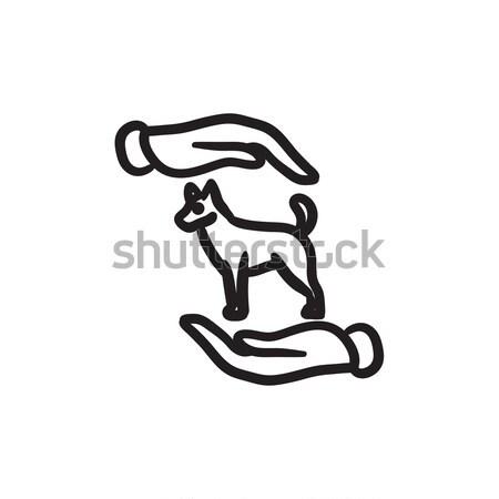 уход за домашними животными эскиз икона вектора изолированный рисованной Сток-фото © RAStudio