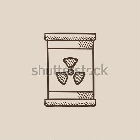 Baryłkę promieniowanie podpisania szkic ikona wektora Zdjęcia stock © RAStudio