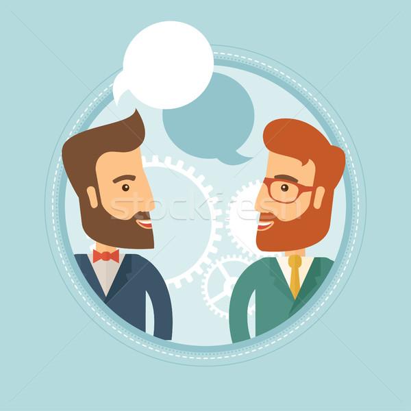 Stock fotó: üzletemberek · beszél · kettő · kaukázusi · hipszter · üzletemberek
