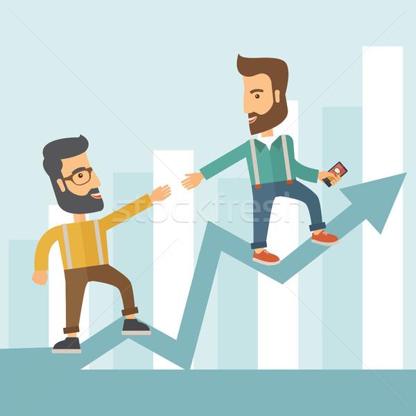 Business man and positive graph Stock photo © RAStudio