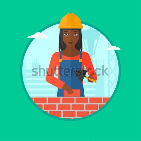 Stock photo: Smiling worker with saw vector illustration.