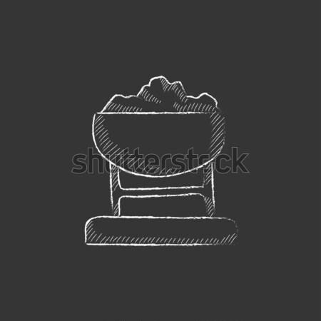 Mayın tok kömür kroki ikon vektör Stok fotoğraf © RAStudio