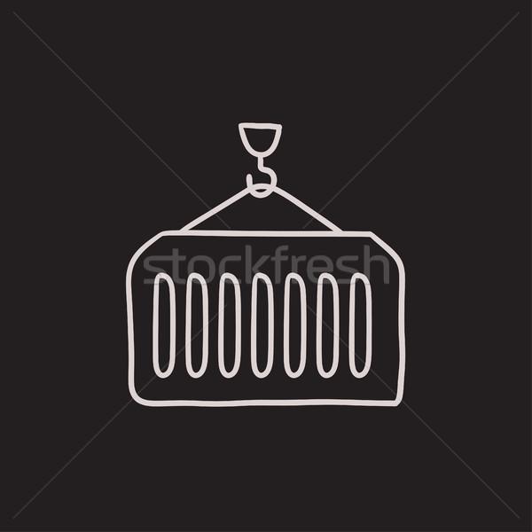 Vracht container schets icon vector geïsoleerd Stockfoto © RAStudio