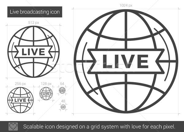 Vivir radiodifusión línea icono vector aislado Foto stock © RAStudio