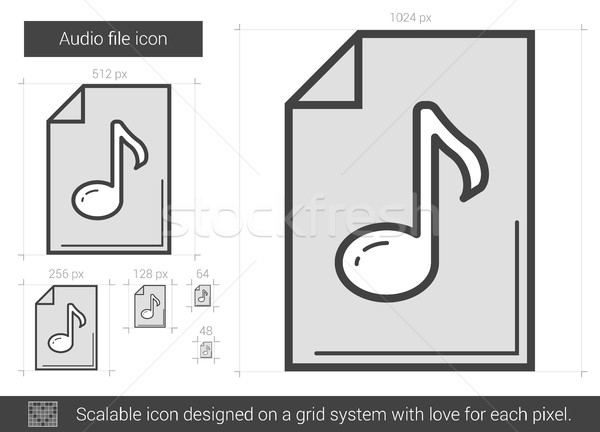 Audio bestand lijn icon vector geïsoleerd Stockfoto © RAStudio