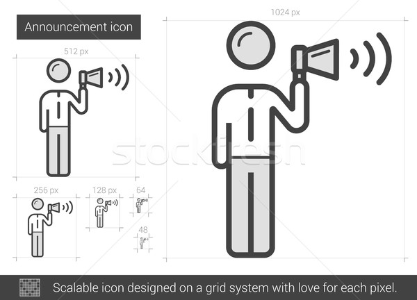 Aankondiging lijn icon vector geïsoleerd witte Stockfoto © RAStudio