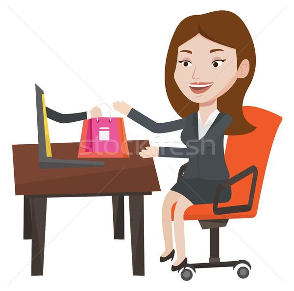 ストックフォト: 女性 · ショッピング · を · 小さな · 幸せ · 注文