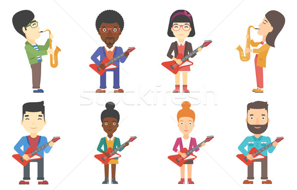 Vector set of musicians characters. Stock photo © RAStudio