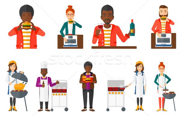 вектора набор люди еды питьевой Сток-фото © RAStudio