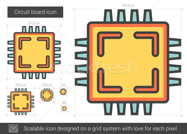 Circuito línea icono vector aislado blanco Foto stock © RAStudio