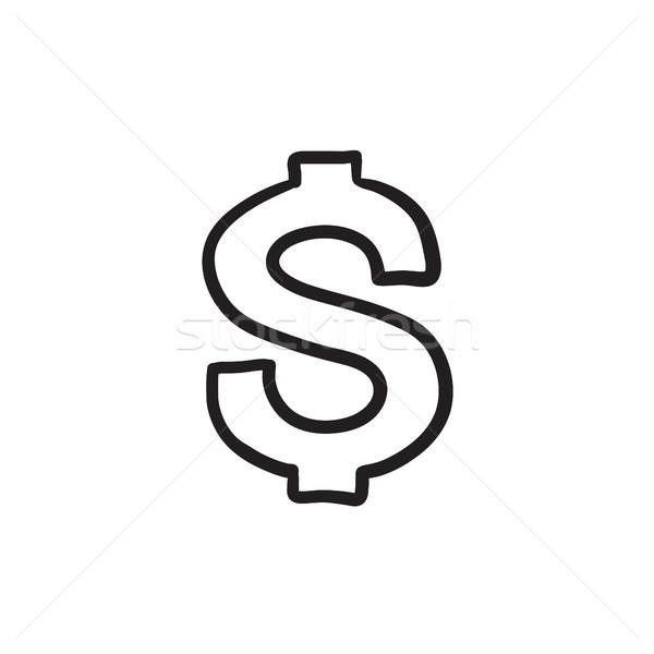 Dollár szimbólum rajz ikon vektor izolált Stock fotó © RAStudio