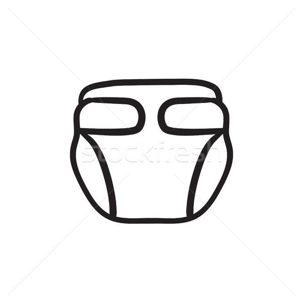 Baba pelenka rajz ikon vektor izolált Stock fotó © RAStudio