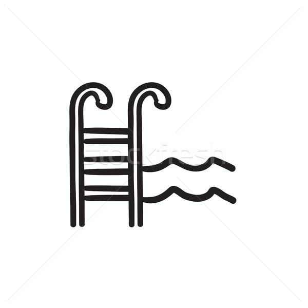 Бассейн лестнице эскиз икона вектора изолированный Сток-фото © RAStudio