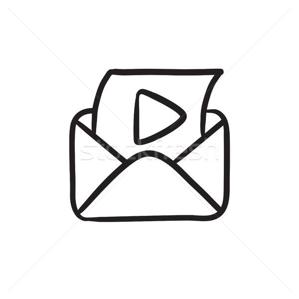 封筒 メール 再生 ボタン スケッチ アイコン ストックフォト © RAStudio