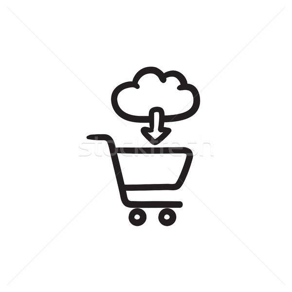 Online alışveriş kroki ikon vektör yalıtılmış Stok fotoğraf © RAStudio