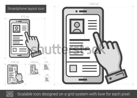 Smartphone lay-out lijn icon vector geïsoleerd Stockfoto © RAStudio