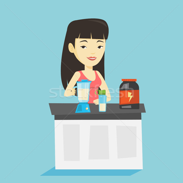 Young woman making protein cocktail. Stock photo © RAStudio