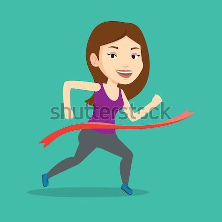 Sportowiec szczęśliwy sportsmenka uruchomiony Zdjęcia stock © RAStudio