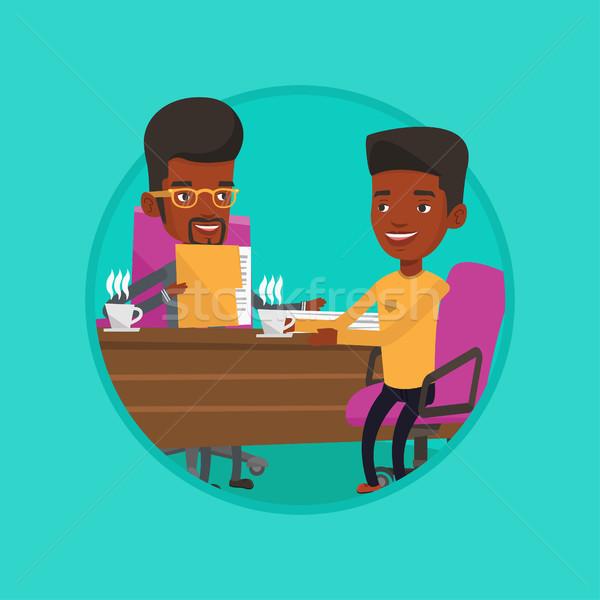 Stockfoto: Twee · zakenlieden · zakelijke · bijeenkomst · praten · drinken · koffie