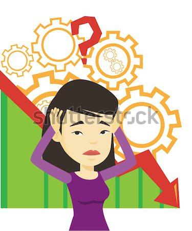 Becsődölt fej diagram lefelé nagy kérdőjel Stock fotó © RAStudio