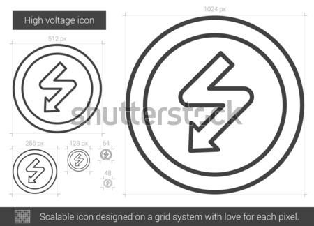 Haute tension ligne icône vecteur isolé blanche Photo stock © RAStudio